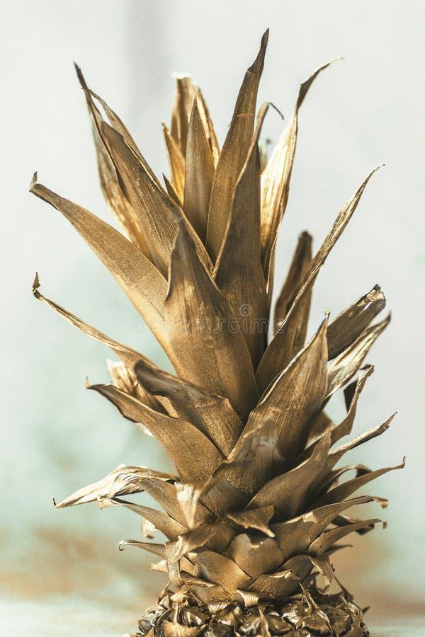Creatief die ontwerp van gouden ananas, abstracte achtergrond wordt gemaakt stock foto's