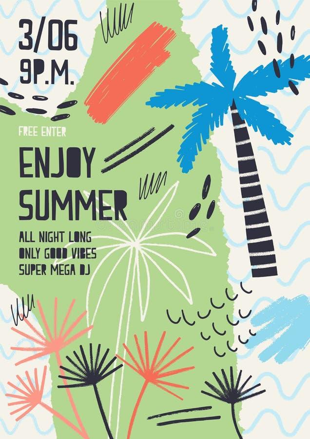 Creatief die vlieger of affichemalplaatje met uitheemse gewassen, tropische palmen, verfvlekken en vlekken voor de zomer wordt ve vector illustratie