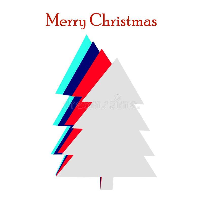Creatief document verwijderd ontwerp van Kerstmisboom voor Vrolijke Kerstmisviering royalty-vrije illustratie