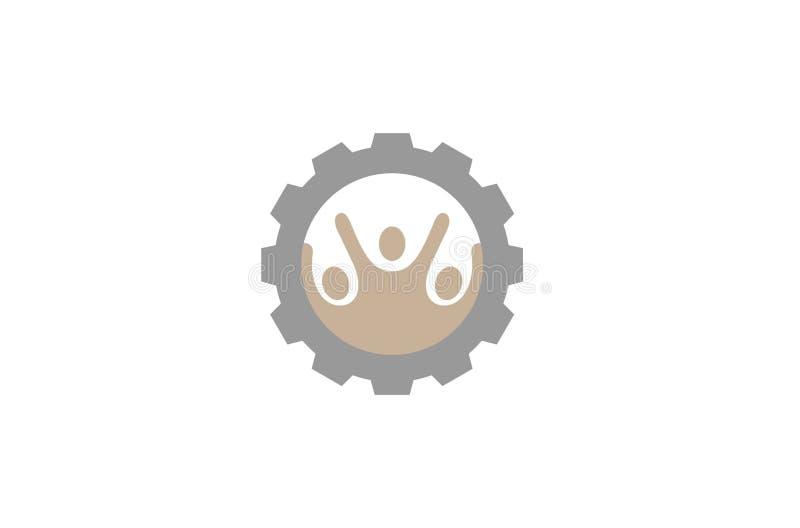 Creatief Drie Mensentoestel Logo Design Illustration vector illustratie