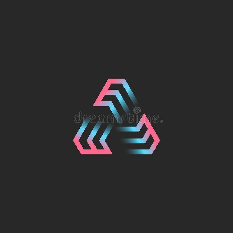 Creatief driehoekig die embleem bij drie brieven EEE, futuristische geometrische moderne de tendensgradiënt wordt gevormd van de  stock illustratie