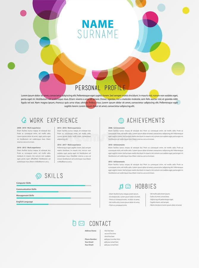 Creatief eenvoudig cv-malplaatje met kleurrijke cirkelsvormen royalty-vrije illustratie
