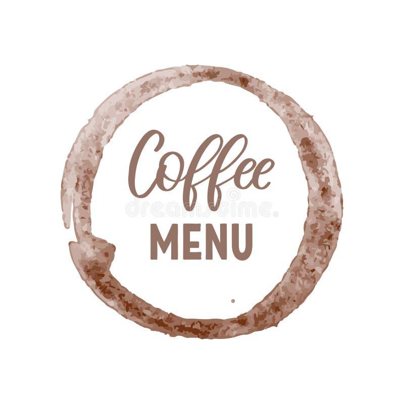 Creatief embleem, malplaatje voor koffiemenu als bruine cirkel met het van letters voorzien op witte achtergrond stock illustratie