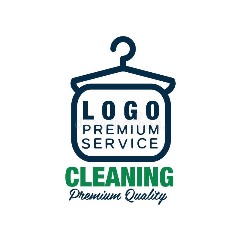 Creatief embleem voor chemisch reinigen of de wasserijdienst Kleerhangersymbool in lijnstijl Vlak vectorontwerpelement voor stock illustratie