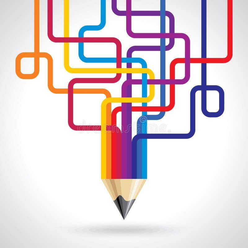 Creatief en kleurrijk potloodidee royalty-vrije illustratie