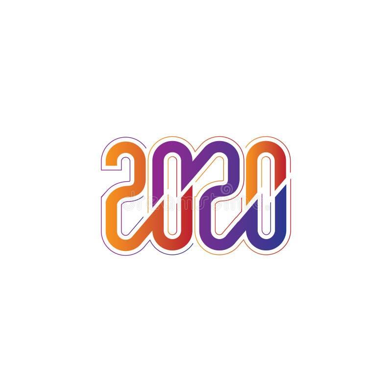 Creatief en modern nieuw jaar 2020 Aangepast tekstlogo of t shirt design sjabloonvectoreps royalty-vrije illustratie