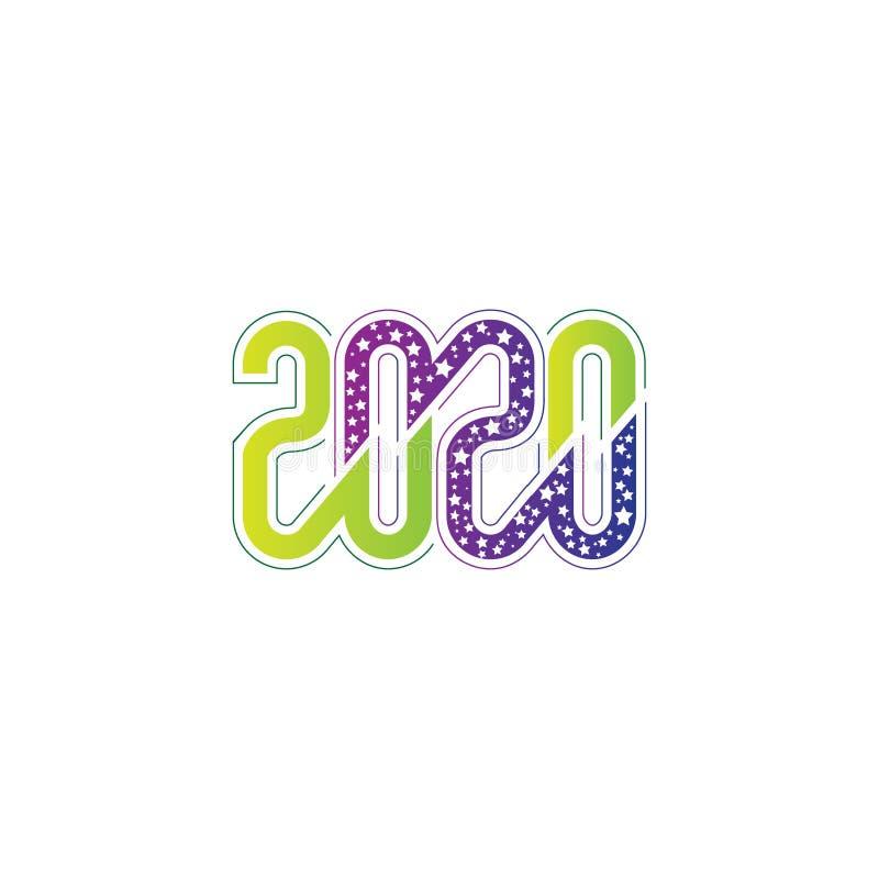 Creatief en modern nieuw jaar 2020 Aangepast tekstlogo of t shirt design sjabloonvectoreps stock illustratie
