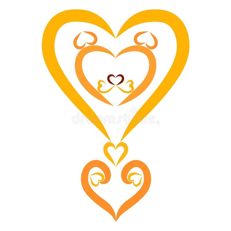 Creatief en romantisch uitroepteken, leeuw en hart vector illustratie