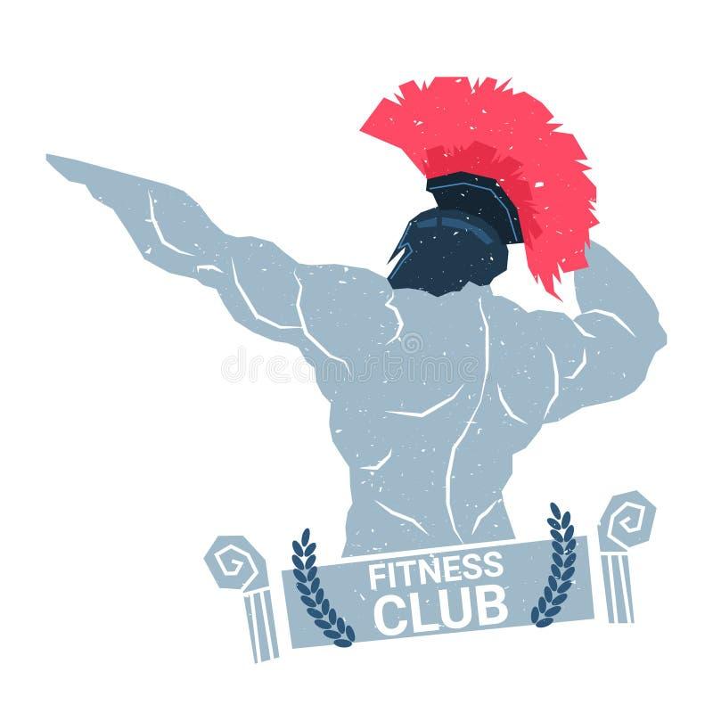 Creatief Fitness van het de Sportcentrum van Clublogo with bodybuilder man silhouette Modern die het Pictogrammalplaatje op Wit w vector illustratie
