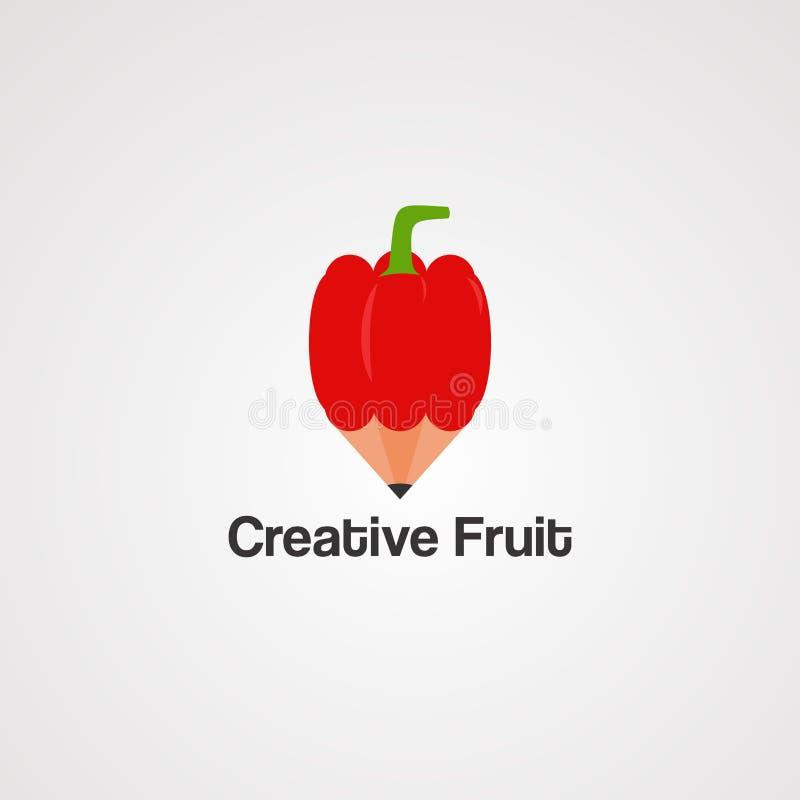 Creatief fruit met de rode vector, het pictogram, het element, en het malplaatje van het potloodembleem voor bedrijf royalty-vrije illustratie