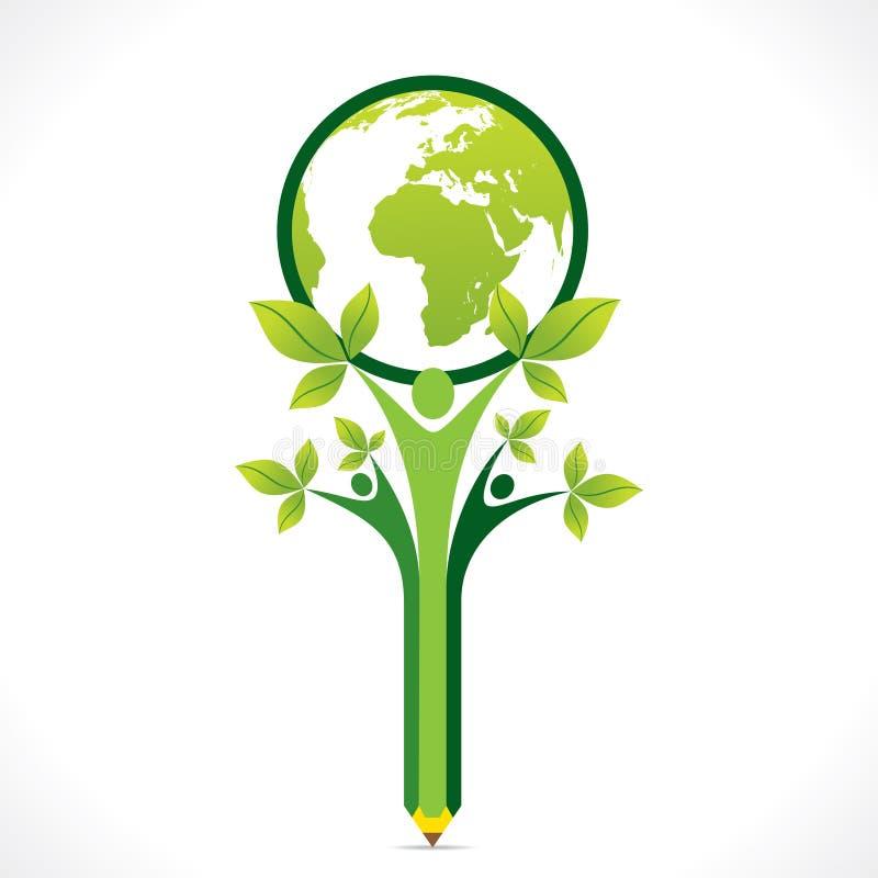 Creatief ga groen of bewaar aardesteun door mensen of kinderenconcept vector illustratie