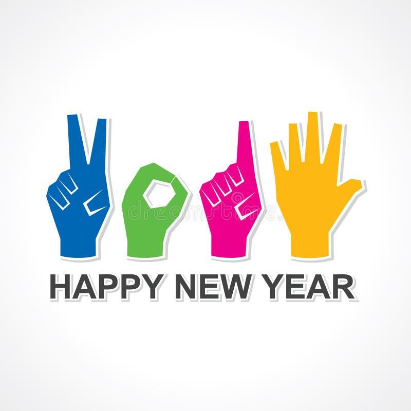 Creatief gelukkig nieuw jaar 2015 ontwerp met vinger royalty-vrije illustratie