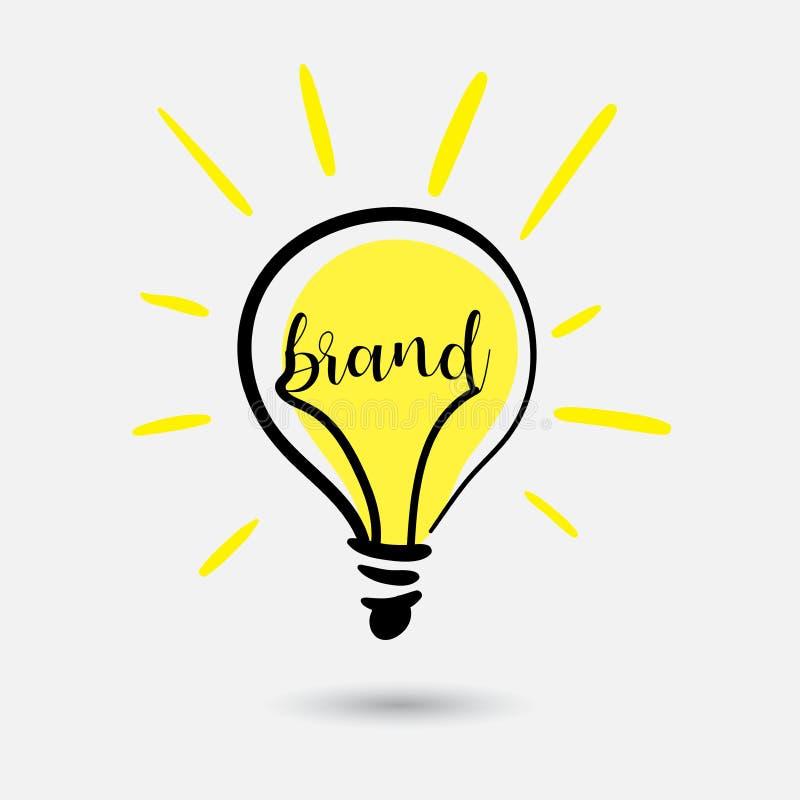 Creatief gloeilampenconcept Schetsidee voor merk De tekst wordt geschreven op gloeiend element Gebruik als embleem voor Web royalty-vrije illustratie