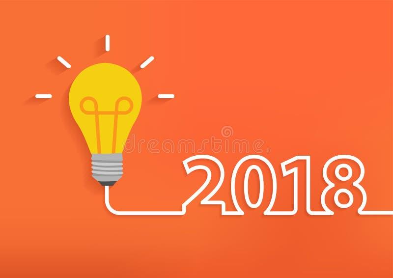 Creatief gloeilampenidee met het nieuwe jaar van 2018 vector illustratie