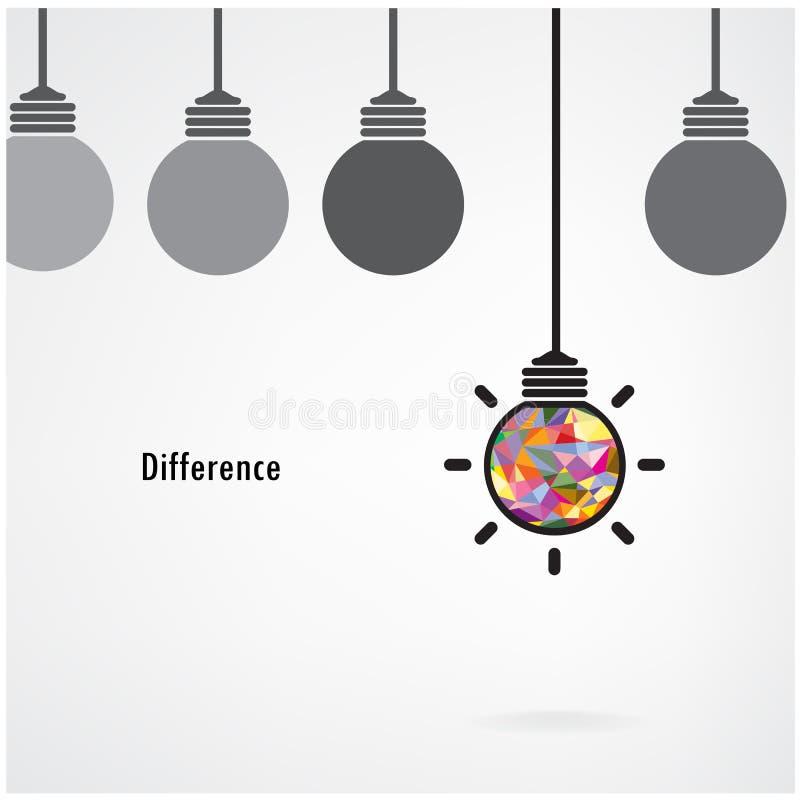 Creatief gloeilampenteken, bedrijfsidee, onderwijsachtergrond, D stock illustratie