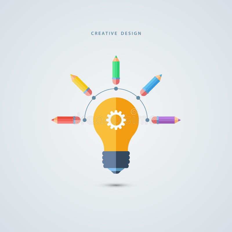Creatief grafisch ontwerpconcept Gloeilamp en kleurenpotloden vector illustratie