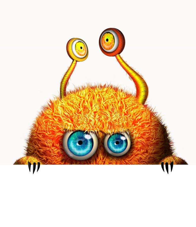 Creatief grappig oranje monster royalty-vrije illustratie