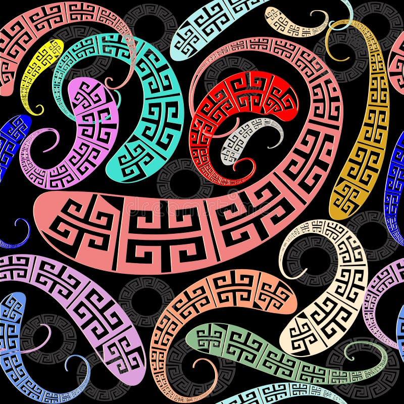 Creatief Grieks zeer belangrijk meander naadloos patroon Vector abstract klopje stock illustratie