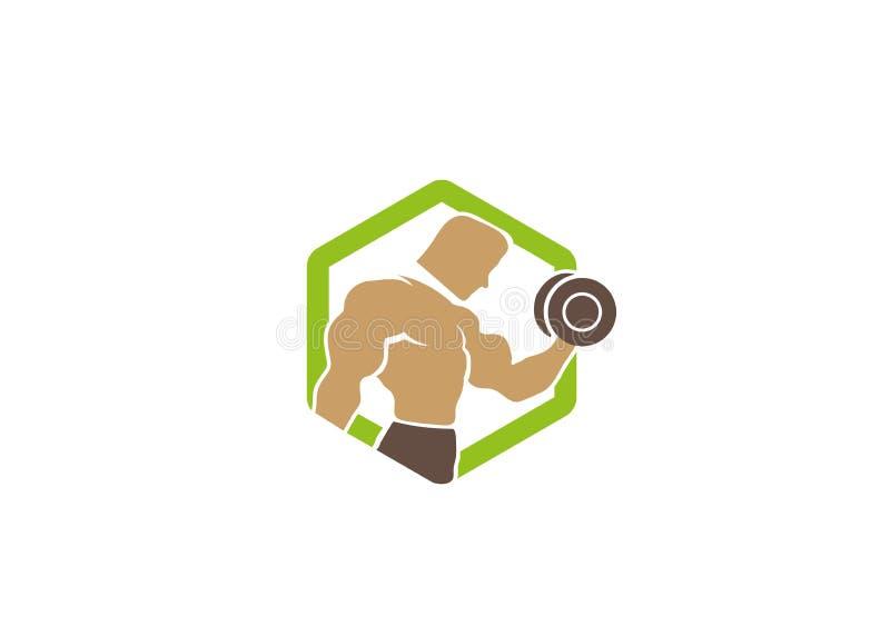 Creatief Groen Hexagon Bodybuilder Opleidingsembleem stock illustratie