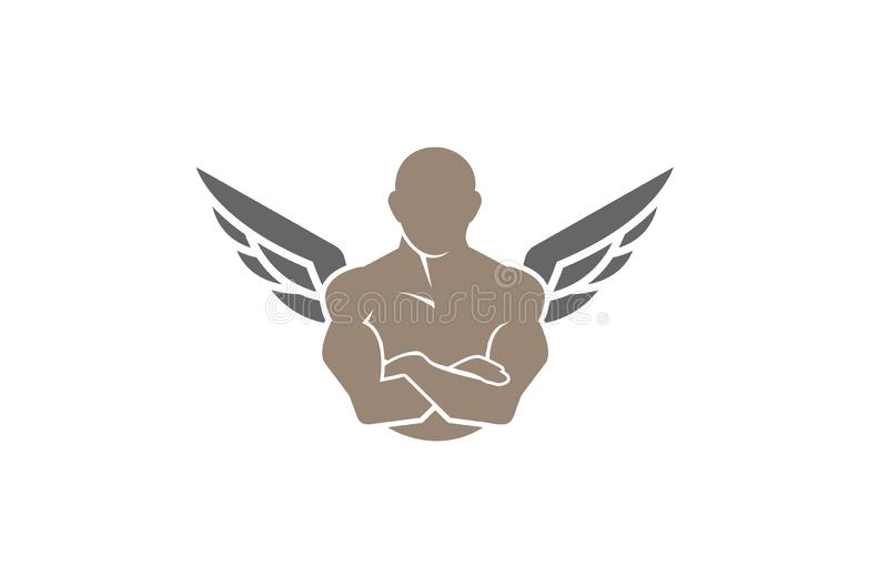 Creatief Gymnastiek en geschiktheidsbodybuilderlichaam Wing Logo Design Symbol Vector Illustration stock illustratie