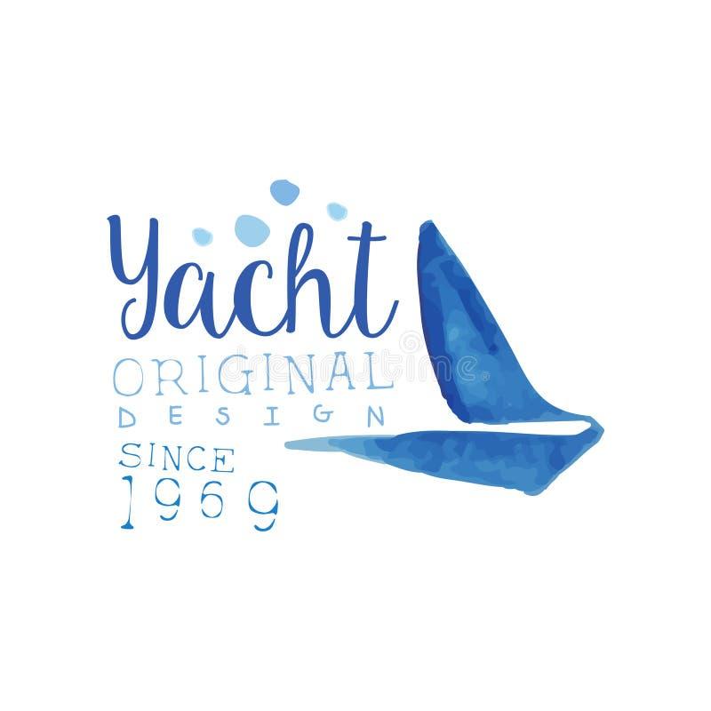 Creatief hand getrokken embleem met silhouet van zeilboot Overzees en oceaanthema Vectorontwerp voor het embleem van de jachtclub vector illustratie