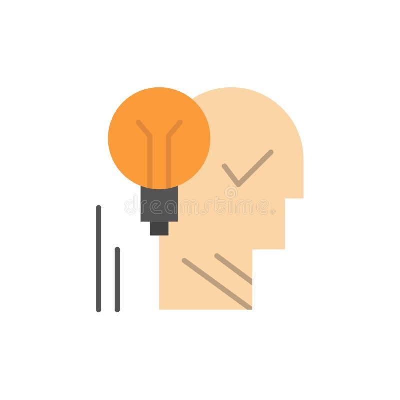 Creatief, Hersenen, Idee, gloeilamp, Persoonlijke Mening, Macht, Pictogram van de Succes het Vlakke Kleur Het vectormalplaatje va stock illustratie