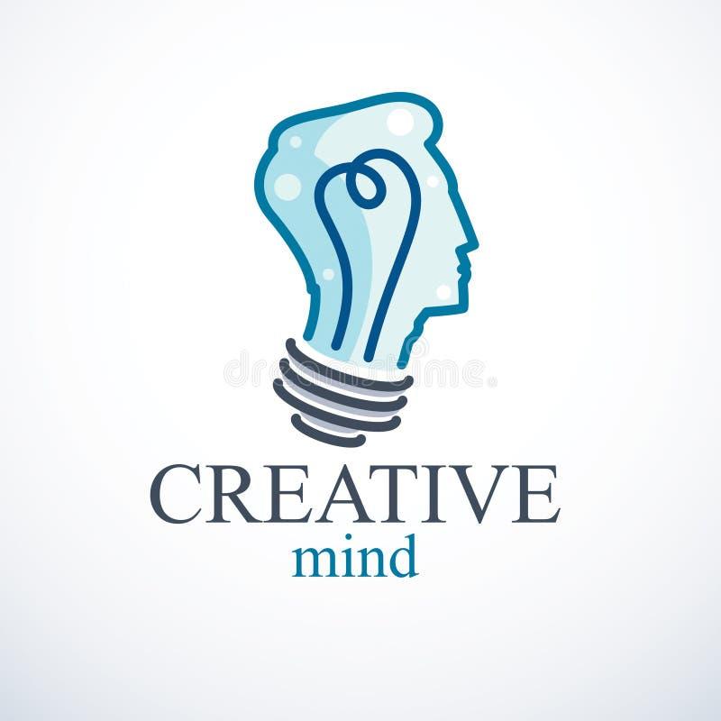 Creatief hersenenconcept, intelligent persoons vectorembleem Lichte bu vector illustratie