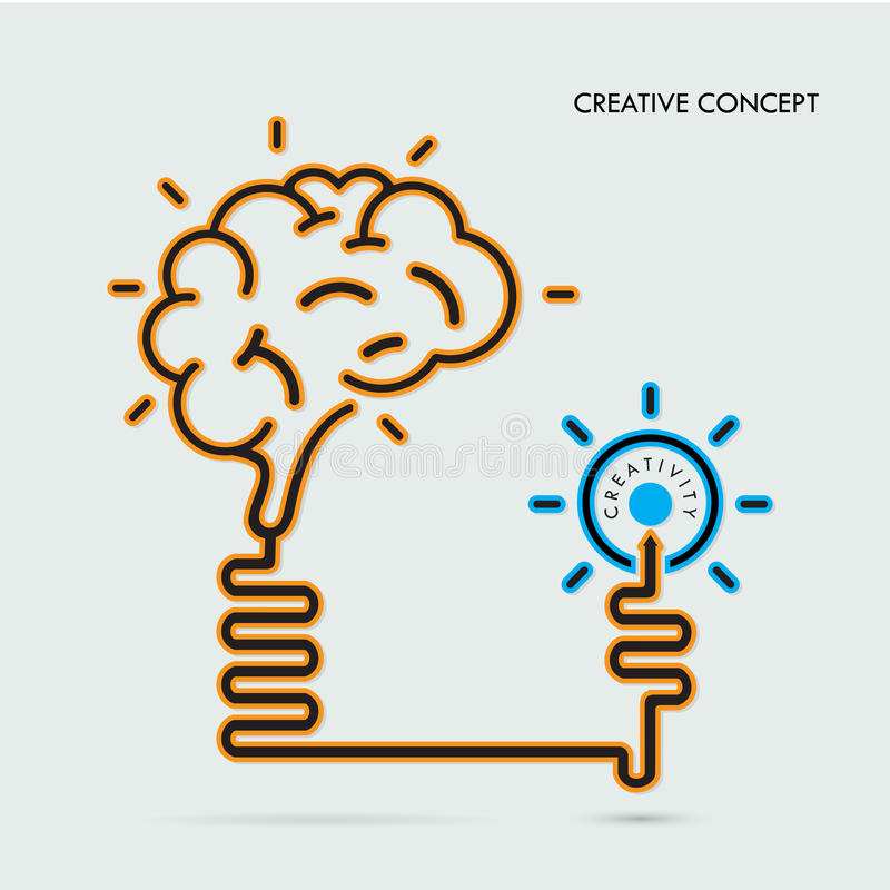 Creatief hersenenidee en gloeilampenconcept, ontwerp voor affichefl royalty-vrije illustratie
