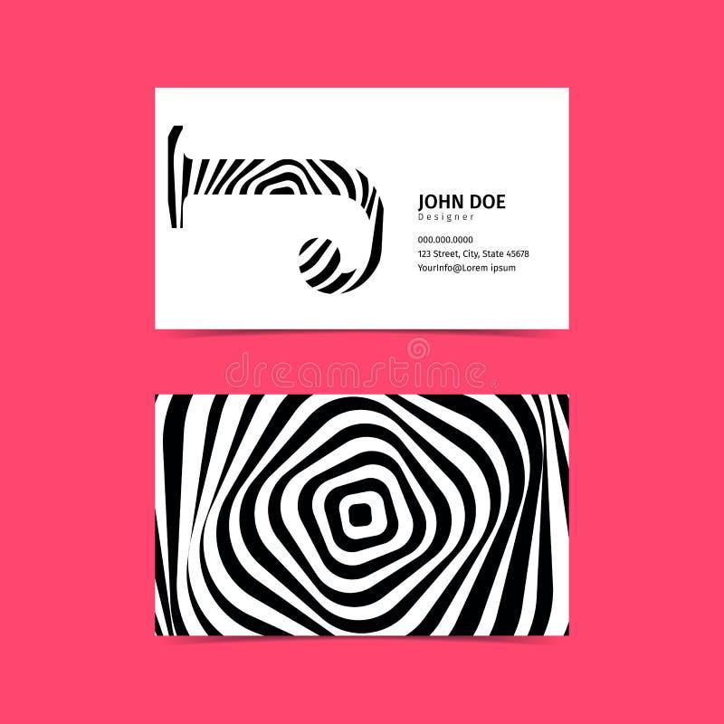 Creatief het Adreskaartjemalplaatje van 90x50 Zwart-witte kleuren F vector illustratie