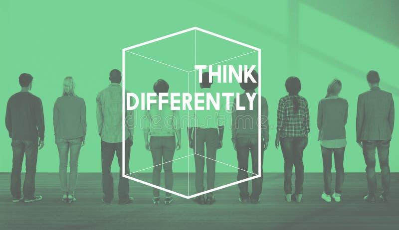 Creatief het Denken Verschillend Kubus Grafisch Concept royalty-vrije stock foto