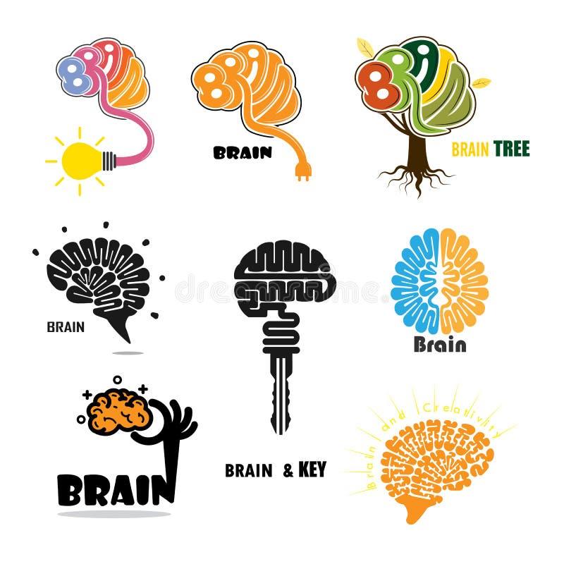 Creatief het ontwerpmalplaatje van het hersenen abstract vectorembleem stock illustratie