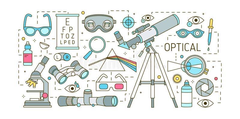 Creatief horizontaal bannermalplaatje met diverse optische apparaten, verbrokkeld prisma, glazen, menselijk oog, optische lenzen  vector illustratie