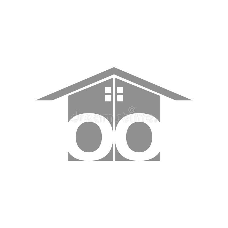 Creatief huis slim embleem die met schone achtergrond detailleren royalty-vrije illustratie
