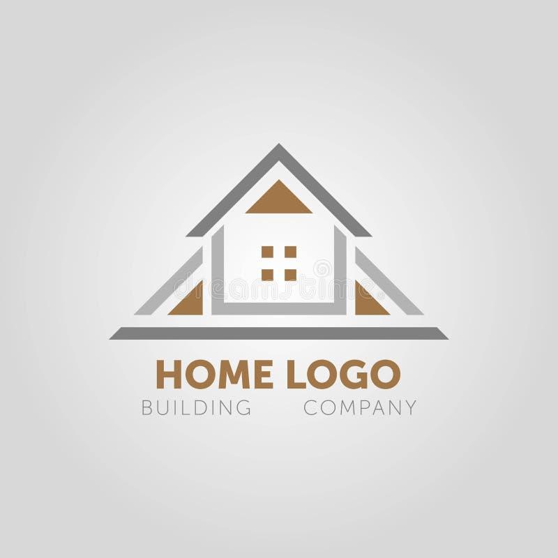 Creatief huis slim embleem die met schone achtergrond detailleren stock illustratie