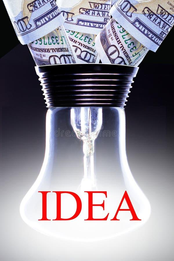 Creatief idee die geldconcept maken Bedrijfs Idee stock afbeeldingen