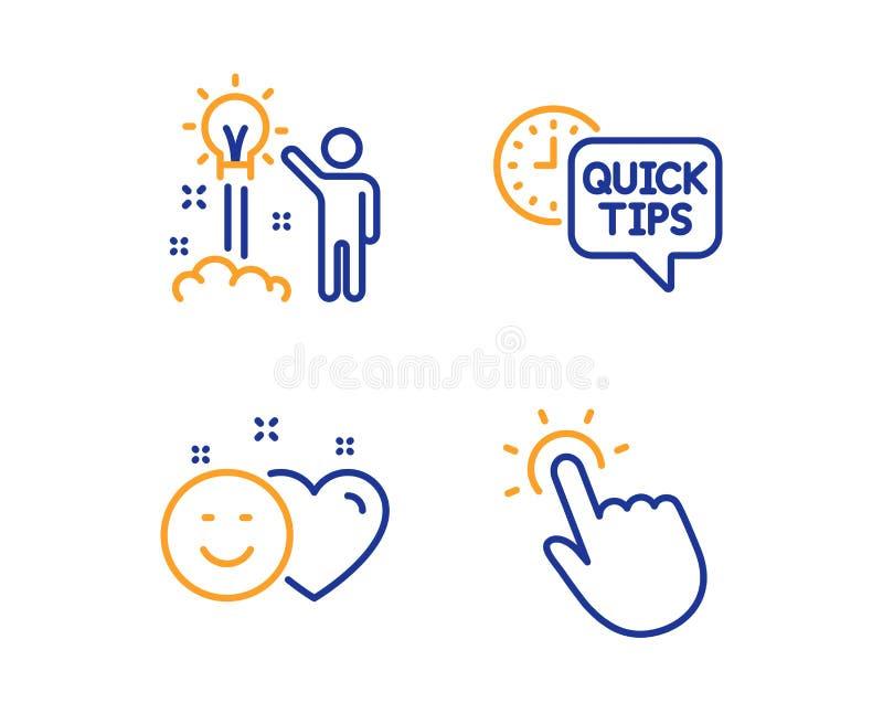 Creatief idee, Glimlach en Snelle geplaatst uiteindenpictogrammen touchpoint teken Opstarten, Sociale media als, Nuttige trucs Ve royalty-vrije illustratie