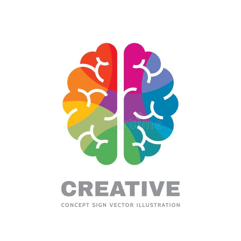 Creatief idee - het conceptenillustratie van het bedrijfs vectorembleemmalplaatje Abstract menselijk hersenenteken Geometrische g royalty-vrije illustratie