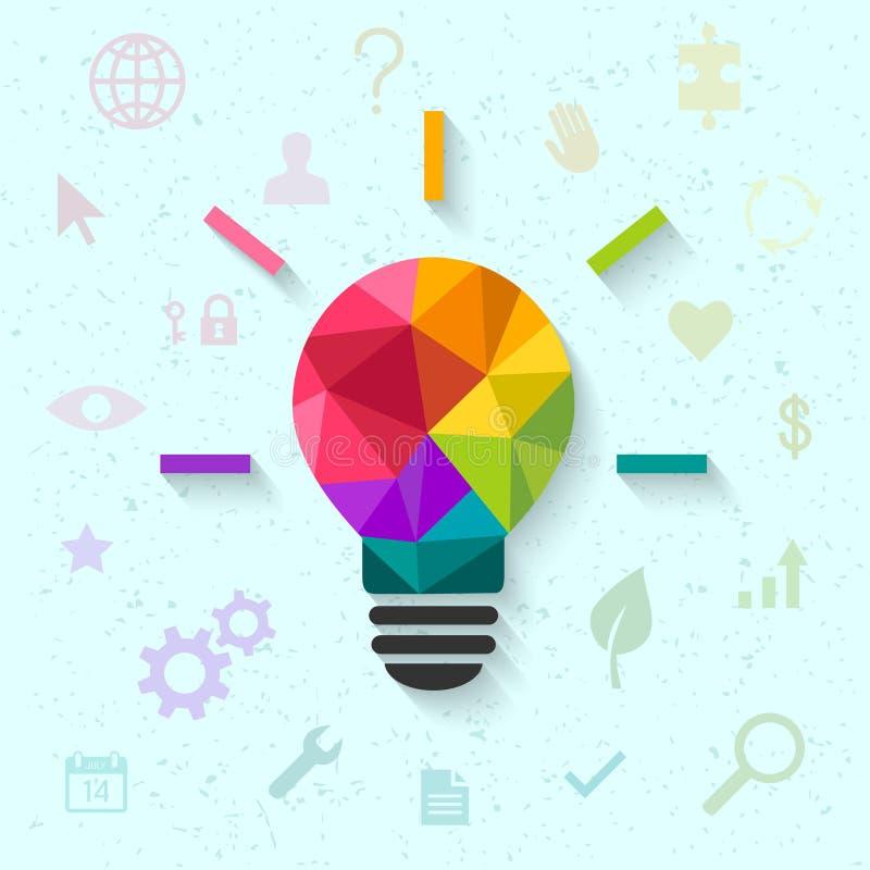 Creatief ideeconcept met lightbulb en pictogrammen vector illustratie
