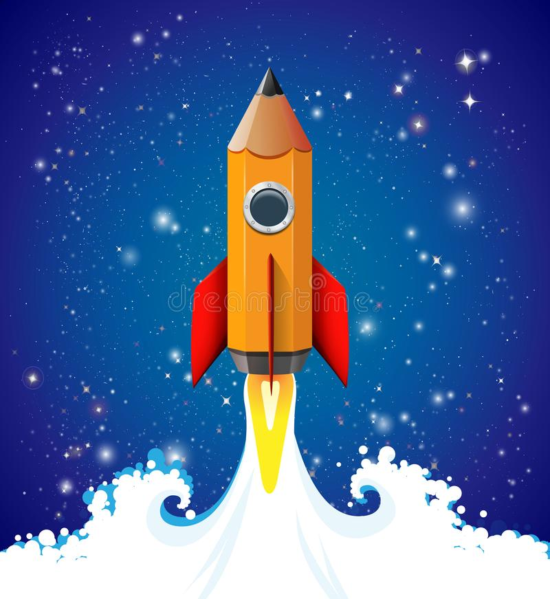 Creatief ideeconcept - potlood als snelheidsraket die aan de hemel beklimmen - wijsheid en kennis vector illustratie