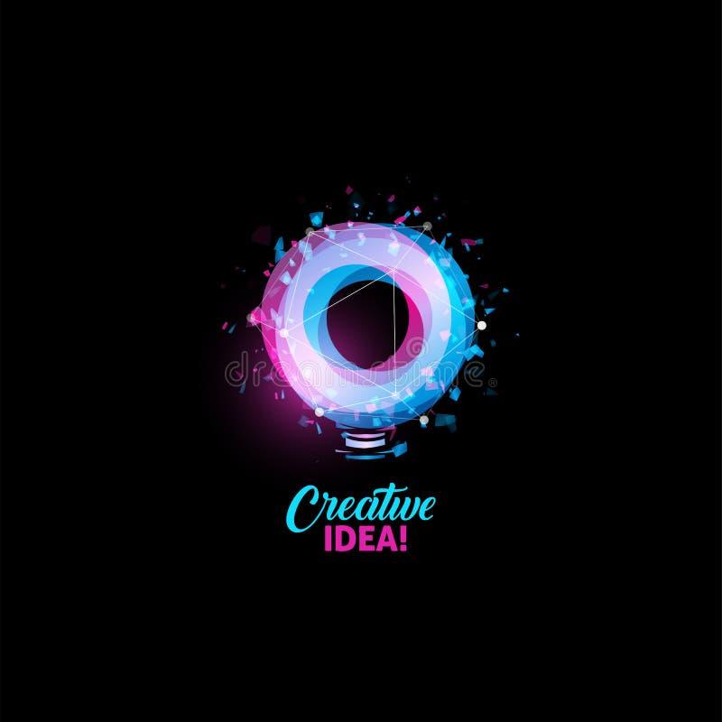 Creatief ideeembleem, gloeilampen abstract vectorpictogram Geïsoleerde roze en blauwe ronde vorm, gestileerde lamp met tekst stock illustratie