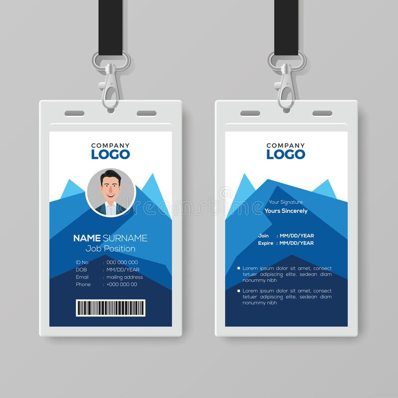 Creatief Identiteitskaartmalplaatje met Abstracte Blauwe Geometrische Achtergrond vector illustratie