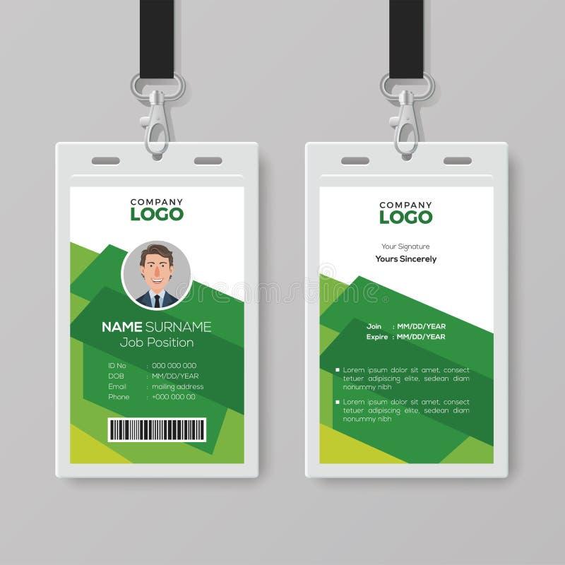 Creatief Identiteitskaartmalplaatje met Abstracte Groene Achtergrond vector illustratie