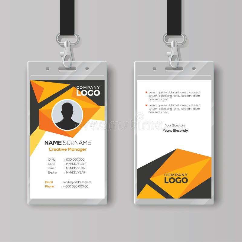 Creatief Identiteitskaartmalplaatje met abstracte oranje geometrische stijl royalty-vrije illustratie