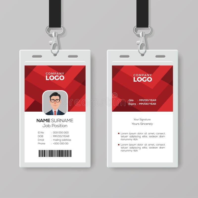 Creatief Identiteitskaartmalplaatje met Abstracte Rode Achtergrond vector illustratie