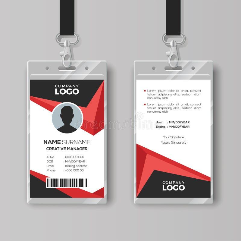 Creatief Identiteitskaartmalplaatje met Zwarte en Rode Details stock illustratie