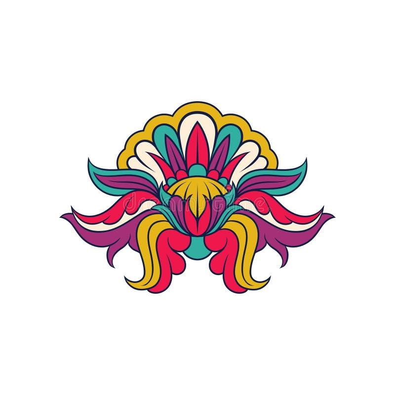 Creatief Indisch patroon Abstract bloemenontwerp Origineel decoratief ornament Vectorelement voor vakantiekaart of stock illustratie
