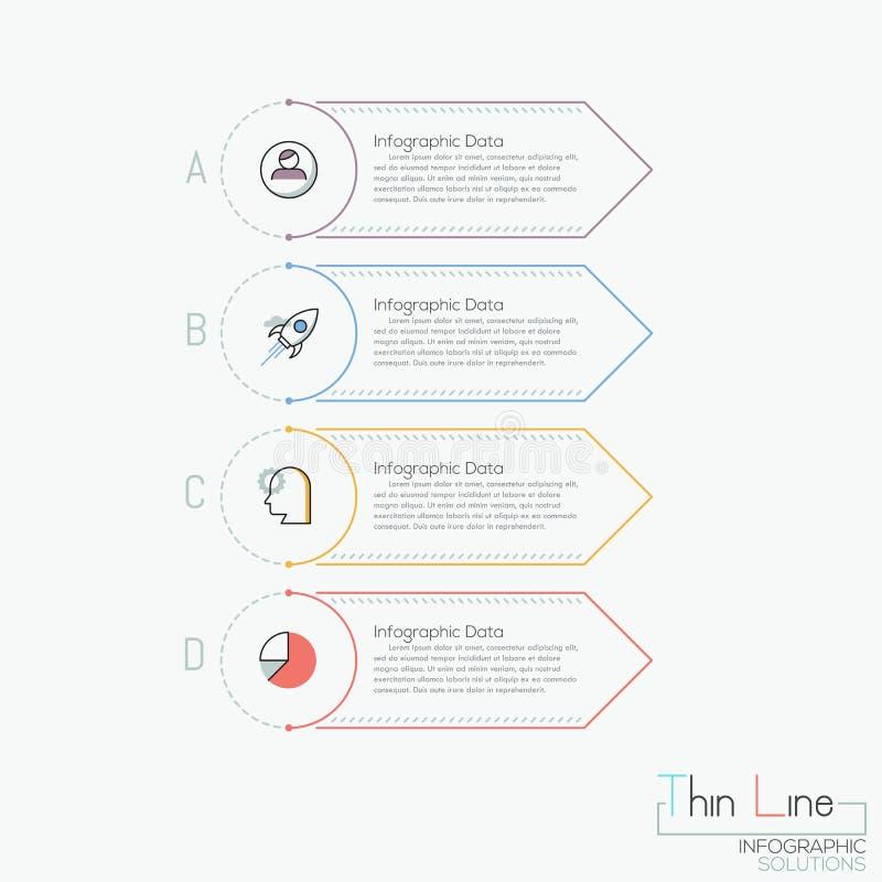Creatief infographic ontwerpmalplaatje 4 multicolored rechthoekige elementen met brieven, pictogrammen en tekstvakjes royalty-vrije illustratie