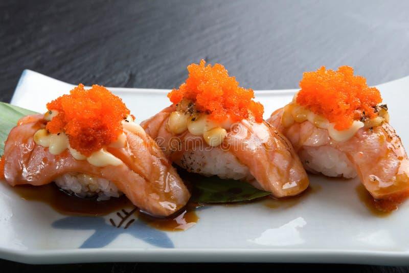 Creatief Japans voedselmenu, sushi Simon Grill stock afbeelding