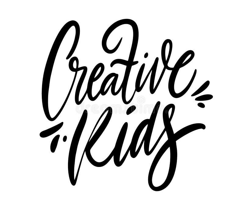 Creatief Jonge geitjesteken Hand het getrokken van letters voorzien Ge?soleerdj op witte achtergrond Motivatieuitdrukking vector illustratie