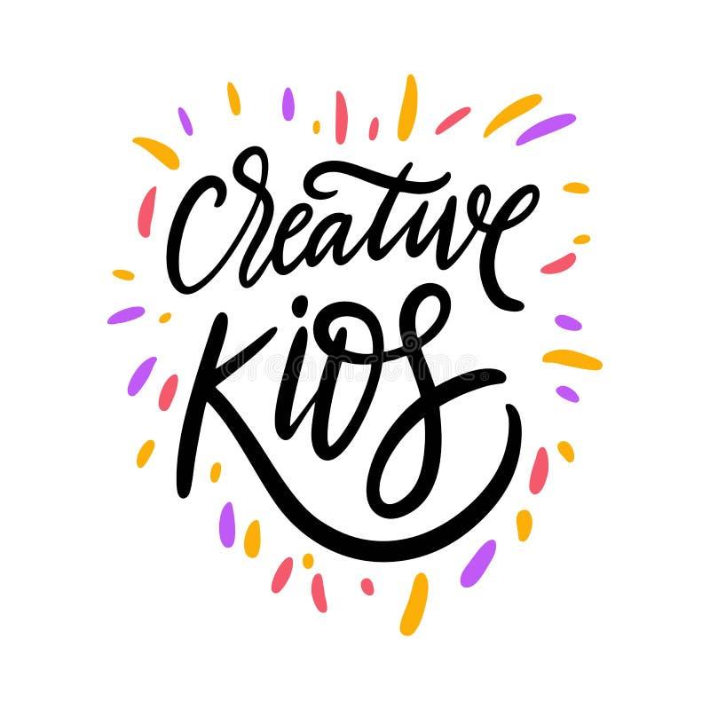 Creatief Jonge geitjesteken Hand het getrokken van letters voorzien Ge?soleerdj op witte achtergrond Motivatieuitdrukking royalty-vrije illustratie